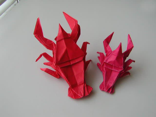 すべての折り紙 折り紙 犬 折り方 : ザリガニ折り紙できました ...