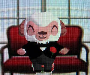 iモード版マチキャラのひつじのしつじくんは胸に赤いカーネーションをつけている