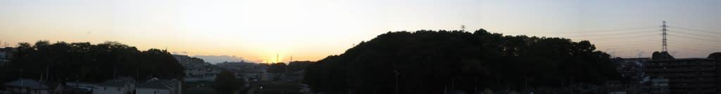 夕日のパノラマ写真