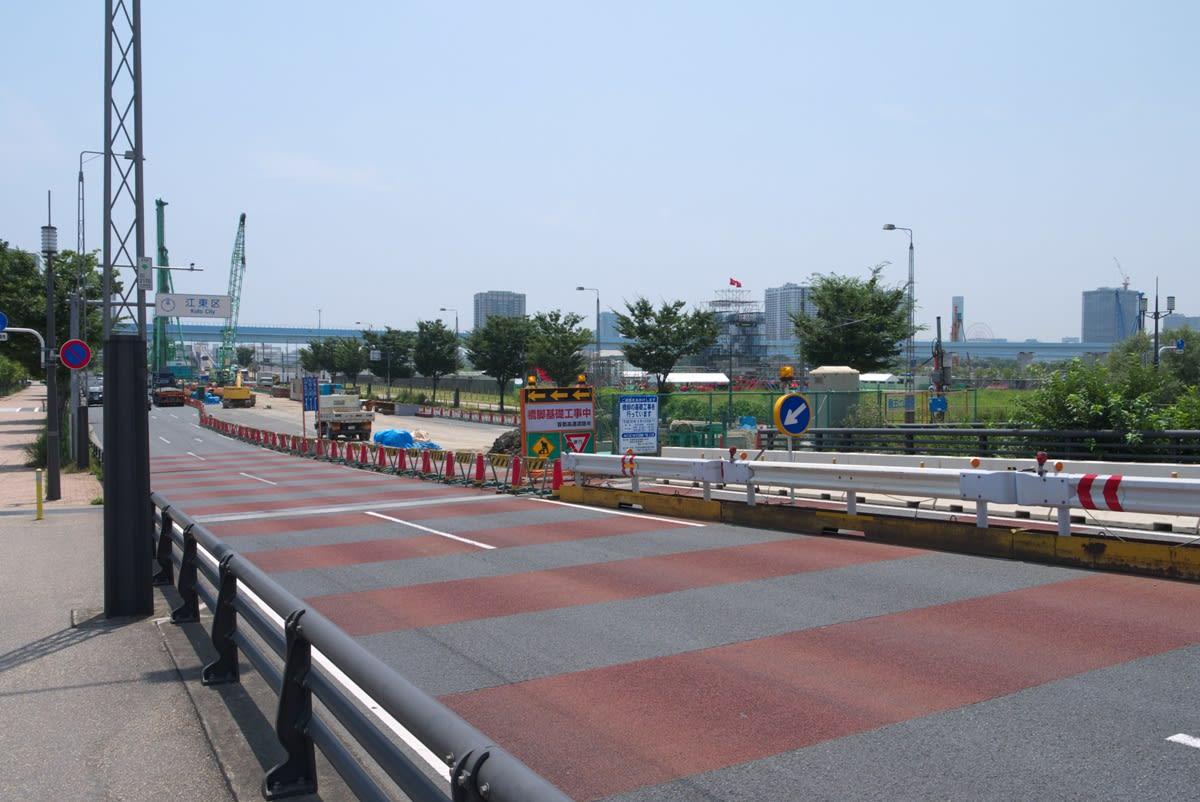 晴海大橋の一般道部分は、新豊洲方向の車線(東方向)と晴海埠頭方向の車線... 緑には、東京しかな