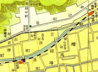 昭和5年の福山市街地図より吉津の道標辺りを拡大(近くを両備軽便鉄道が走っている)