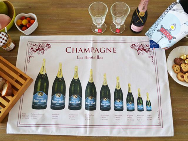 シャンパンボトルのティータオル・キッチンタオル通販