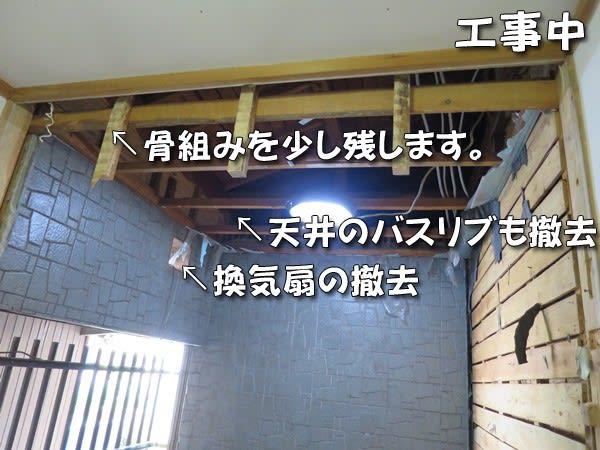 浴室の天井撤去