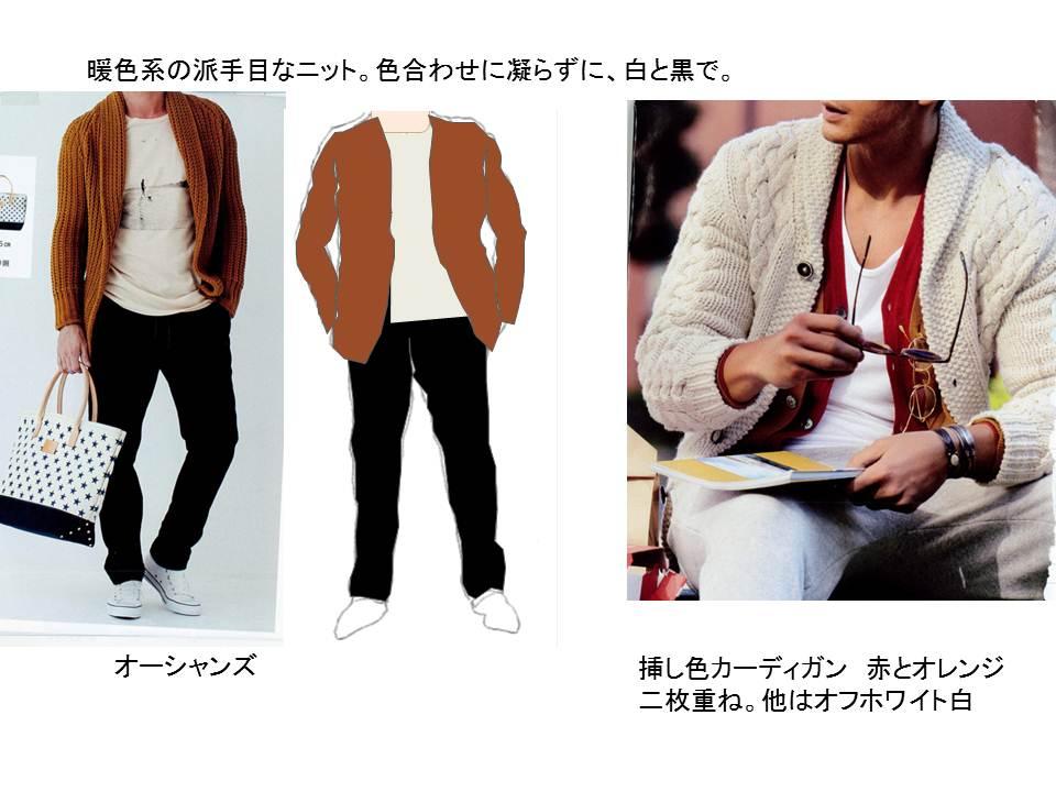 キャメルのジャケットの時に書きましたが、オレンジもキャメル同様、合う色が少ない代表選手。黒と白は間違いなくあうので、白シャツにブラックチノというのが「無難」