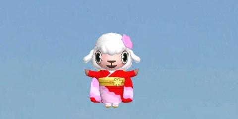 メイドのメイちゃんは桜をあしらった着物姿