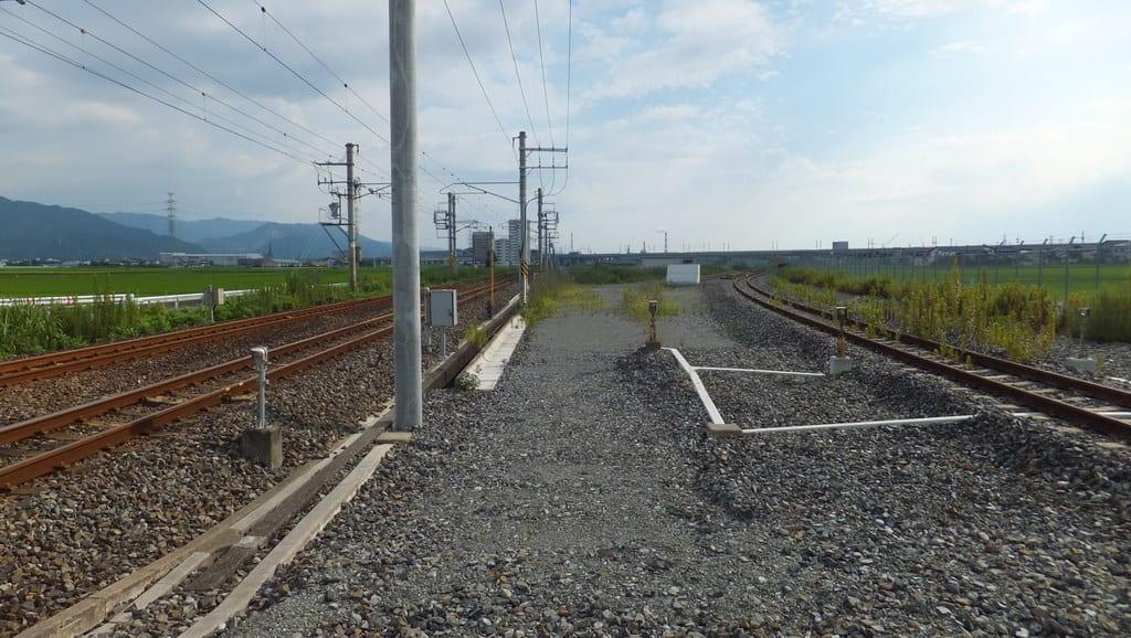 新八代駅付近の旧新幹線渡り線