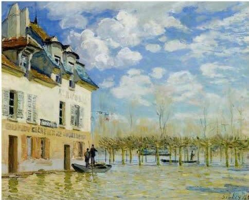 シスレー作:洪水と小船 (パリ郊外のセーヌ川)