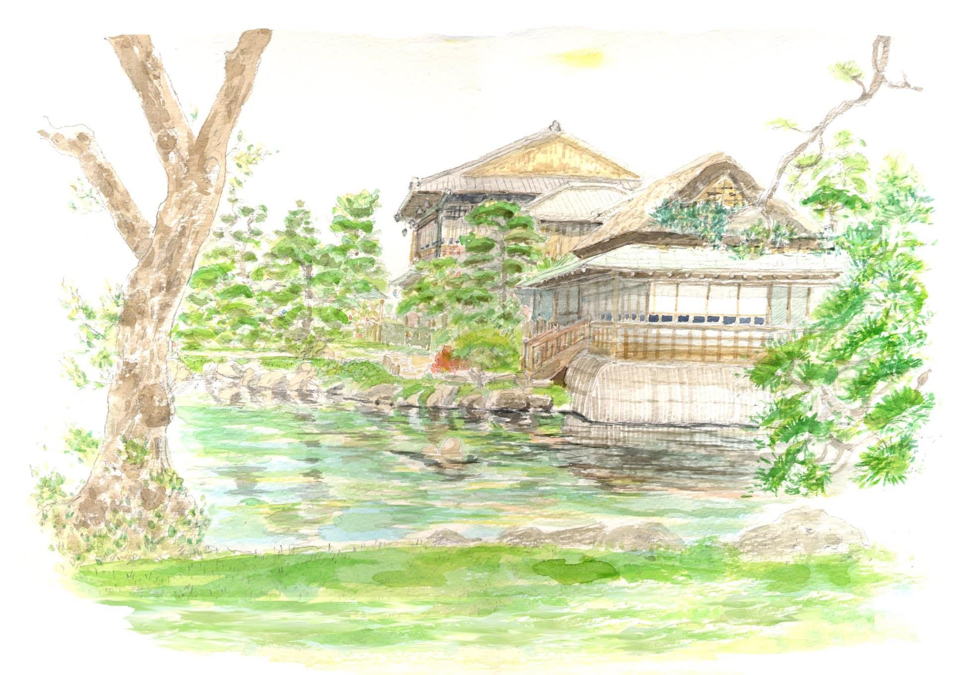 坂出市指定文化財の香風園の庭での風景スケッチ
