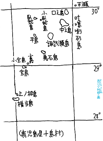 吐ロ葛喇列島の全図