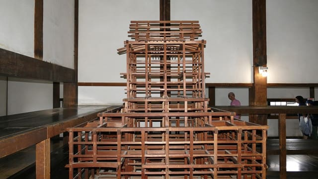 犬山城天守の骨組み模型