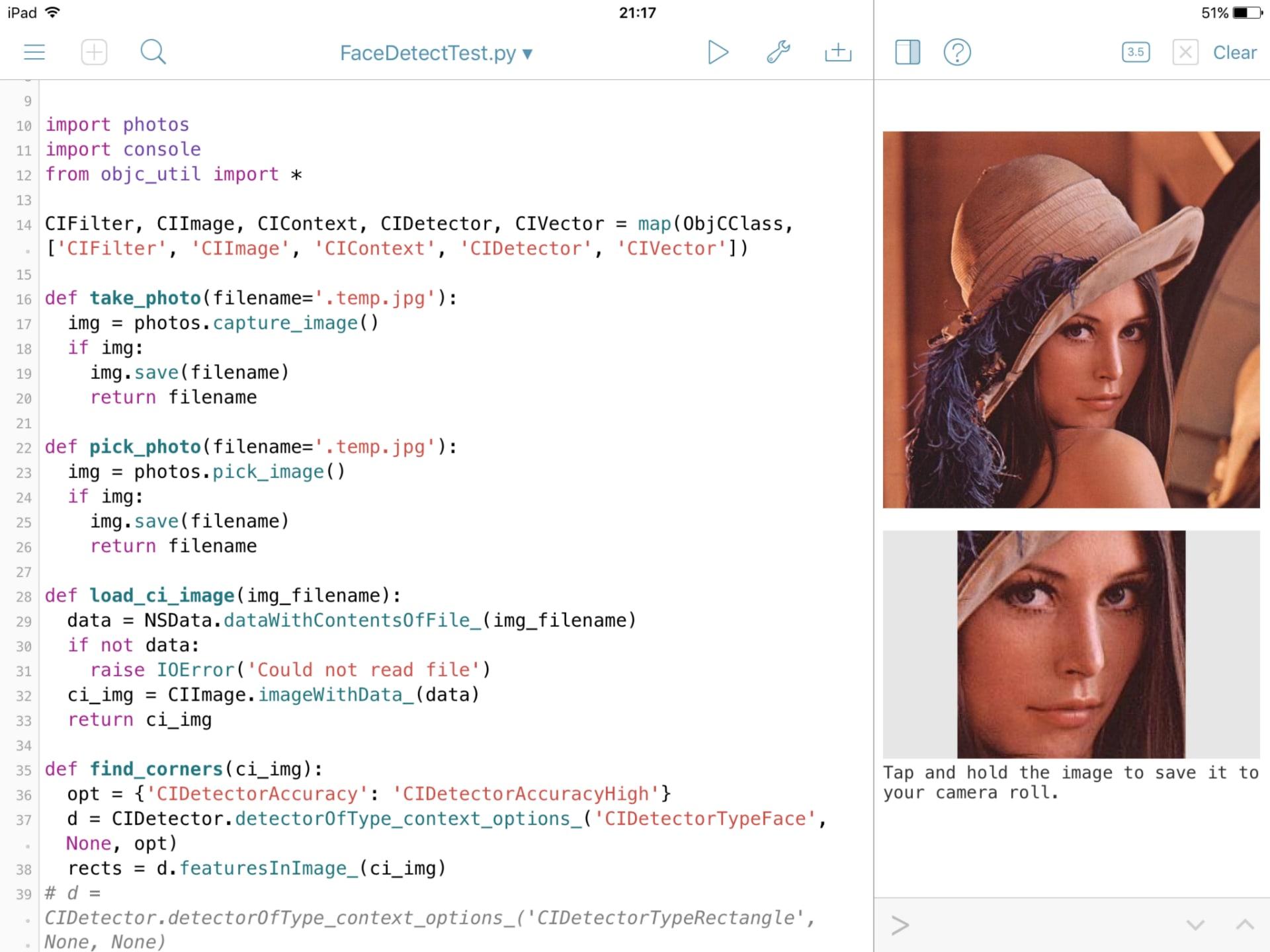Pythonista(iOSで動くPython)で顔認識 - robo8080のブログ