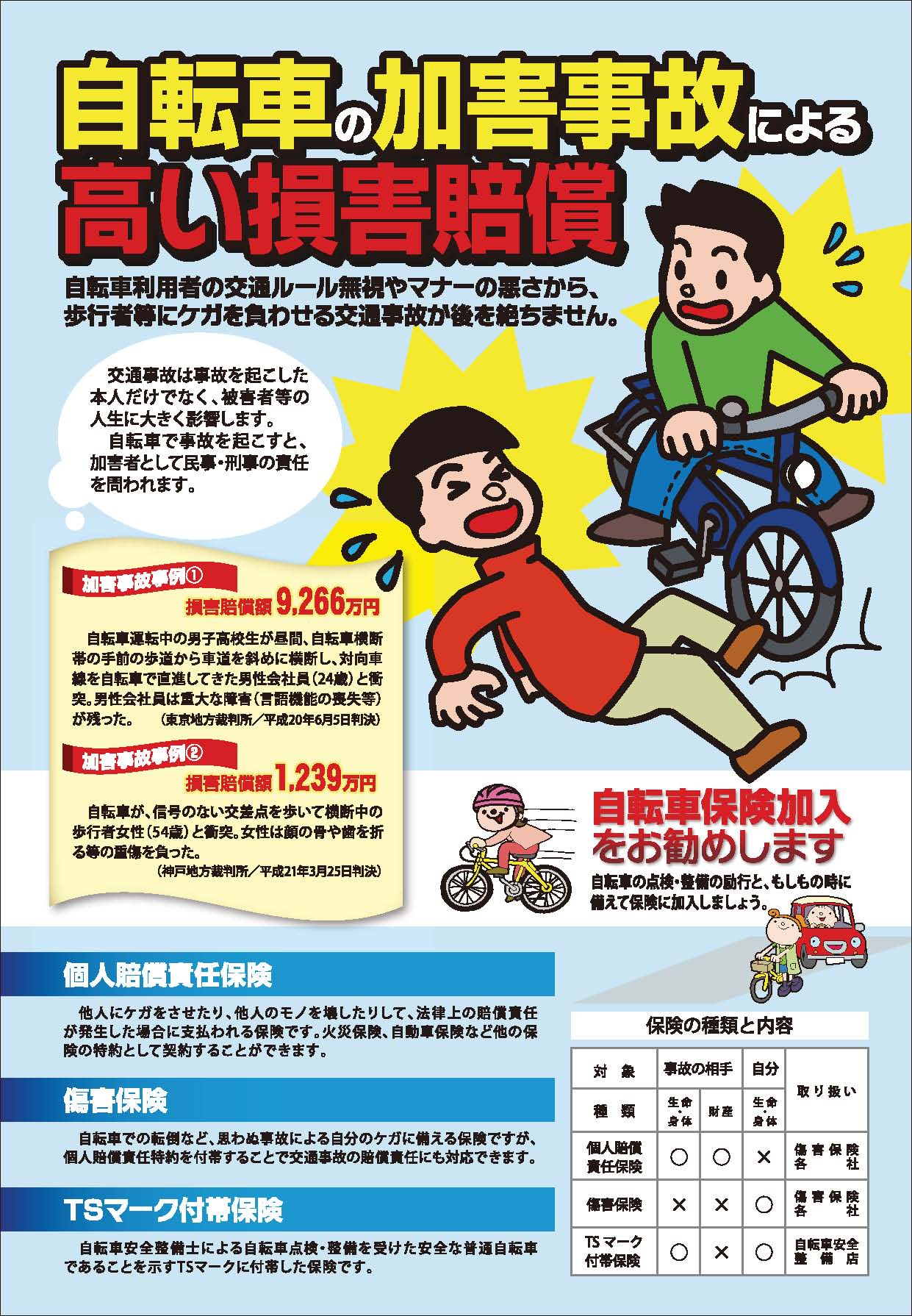自転車保険義務化/兵庫県条令 ...