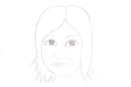 似顔絵 ブログランキングへ 女優の「堀北 真希」さんの似顔絵 鉛筆を使って 出来るだけ簡単な線で