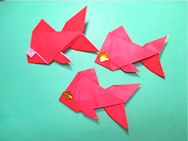 ハート 折り紙:折り紙 金魚の作り方-blog.goo.ne.jp