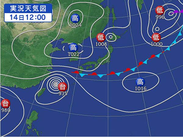 09月14日 今日の天気図 [yahoo]