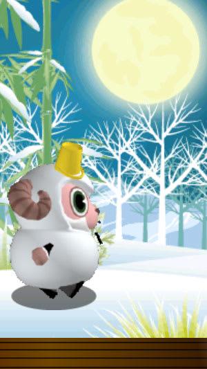 月夜を雪だるまスタイルで歩き出すひつじのしつじくん