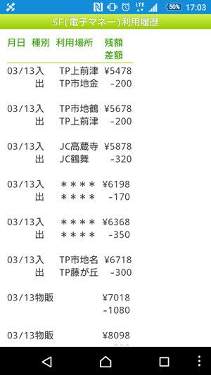 2016/3/13現在、モバイルSuicaの乗車履歴画面では駅名が****で表示されている