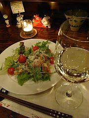 野菜サラダ&白ワイン