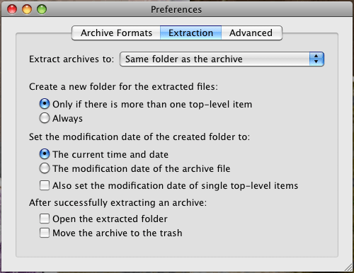 Unarchiver extraction