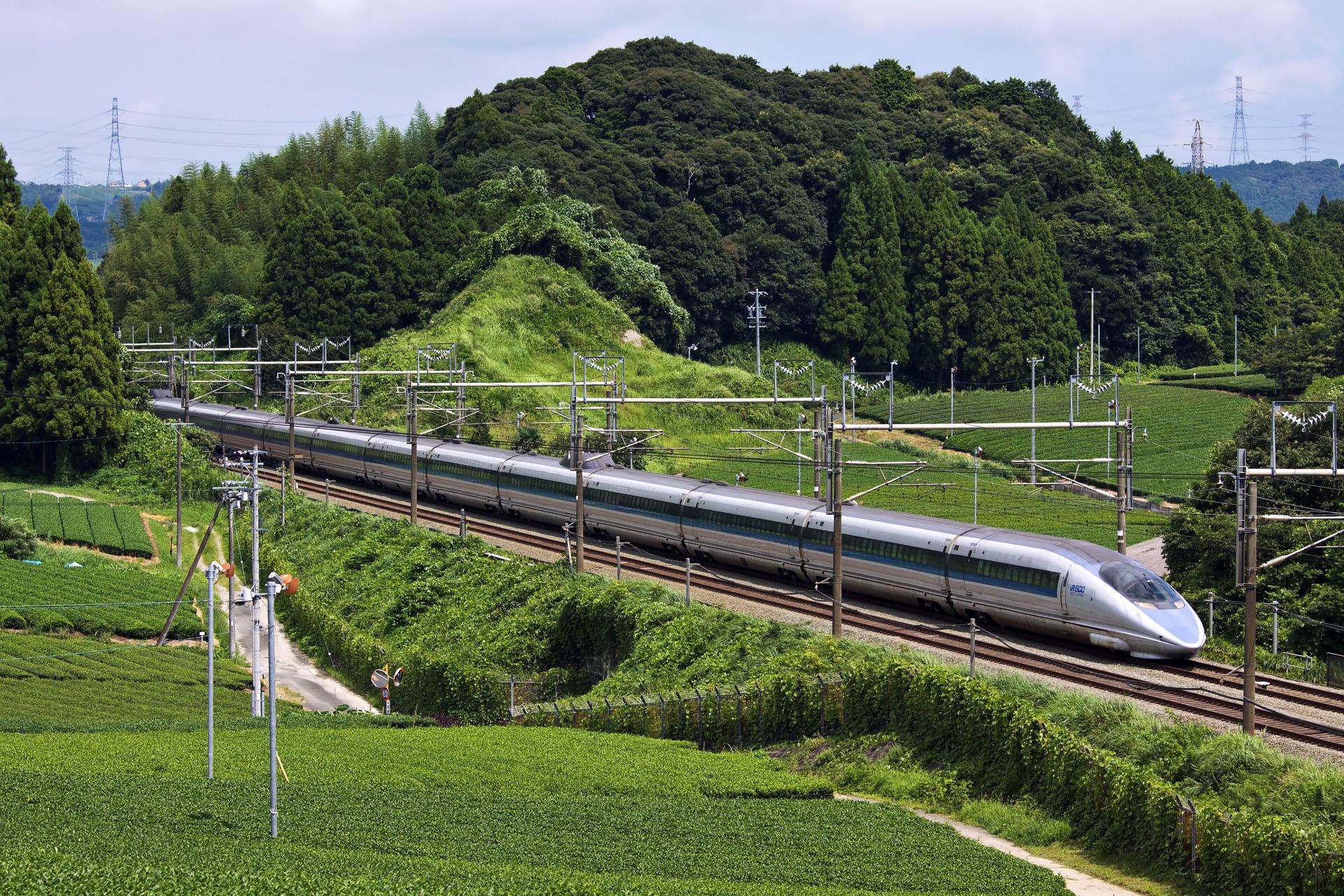 茶畑の中を走る新幹線。