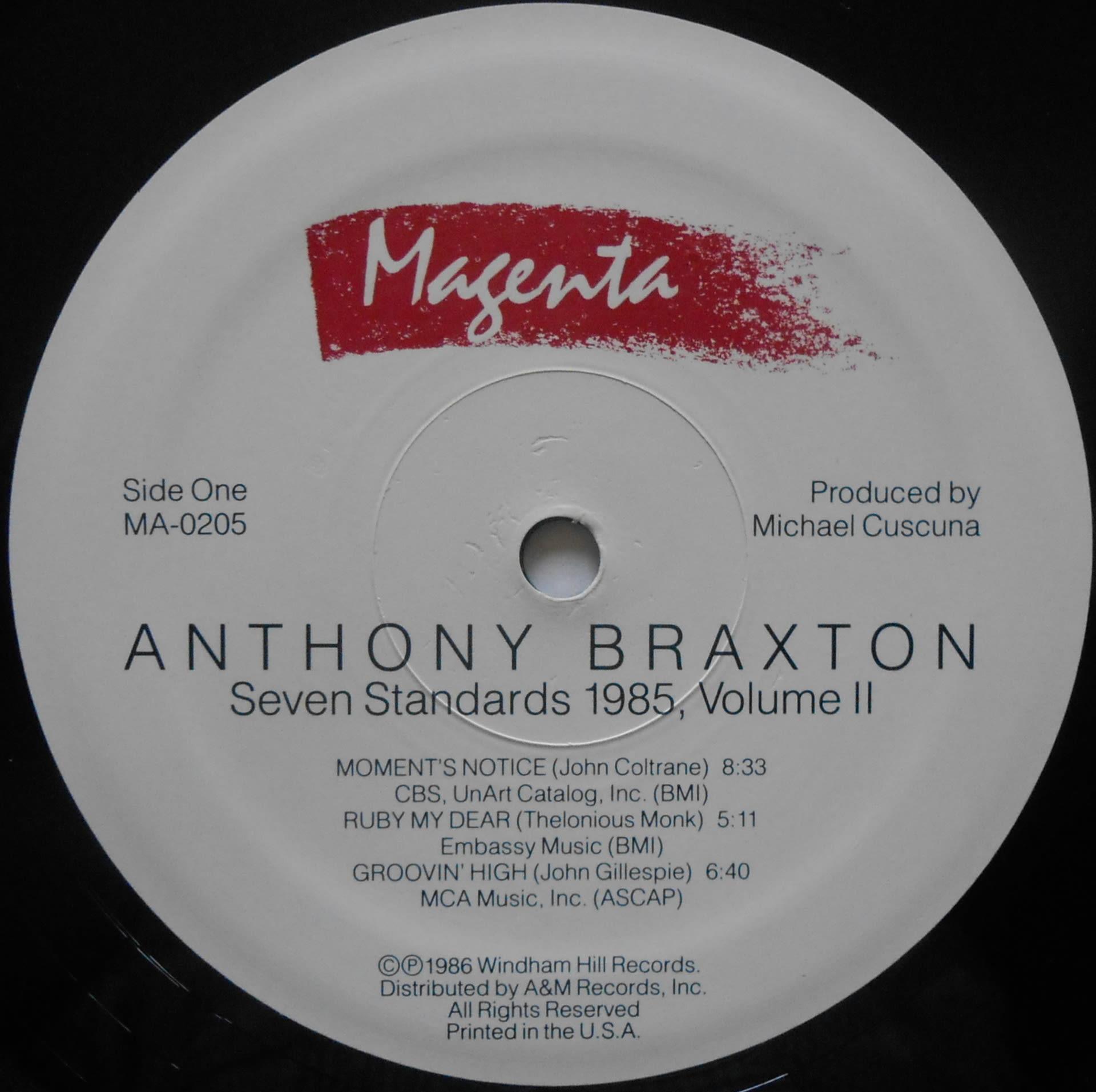 Anthony Braxton Seven Standards 1985 Volume II