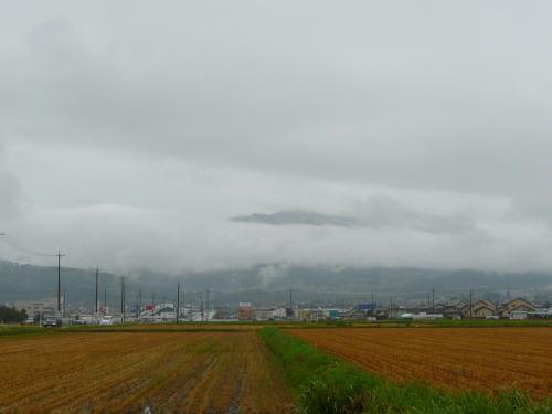 刈り取りの終わった田と雲に隠れる東山