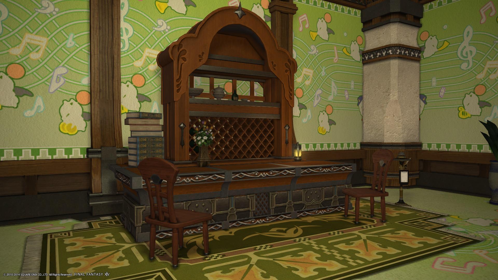 「御用邸の食器棚」と「コーナーカウンター」を上手く合わせてそれっぽく。 カウンターの上に座れるお手製ギミックはそのままですぞw