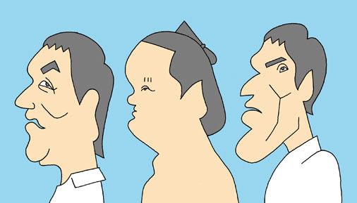 ピエール瀧、白鵬、篠原信一の似顔絵