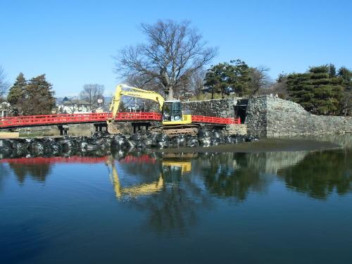 松本城 埋門の石垣の修復工事