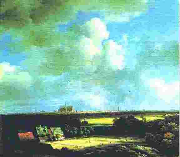 17世紀オランダの画家 ヤーコプ・ファン・ロイスダール作:ハーレムの遠方(空と雲を重要な要素として描いた。)