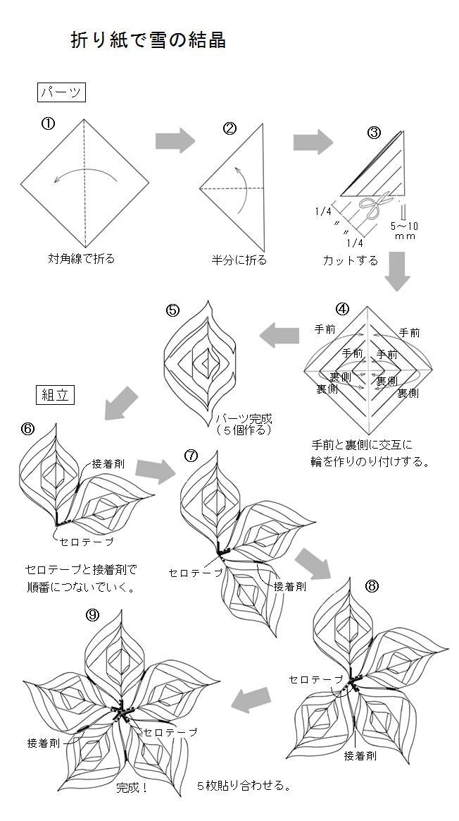 すべての折り紙 結晶 作り方 折り紙 : 折り紙の雪の結晶 - おもちゃ ...