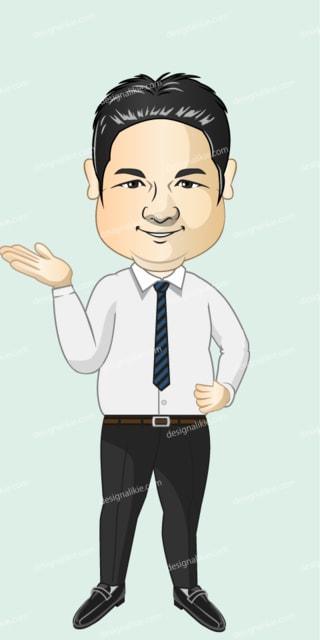 太ったビジネスマンの似顔絵