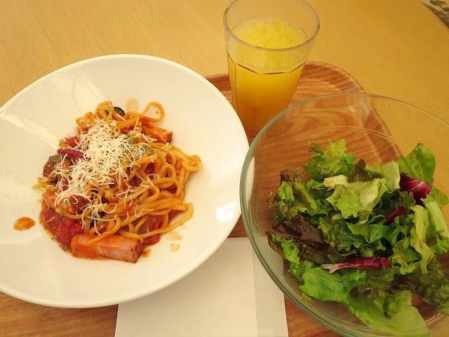 厚切りベーコンと揚げ茄子のトマトソース(ランチセット)