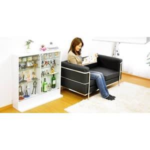コレクションラック【ルーク】浅型ロータイプ ホワイト