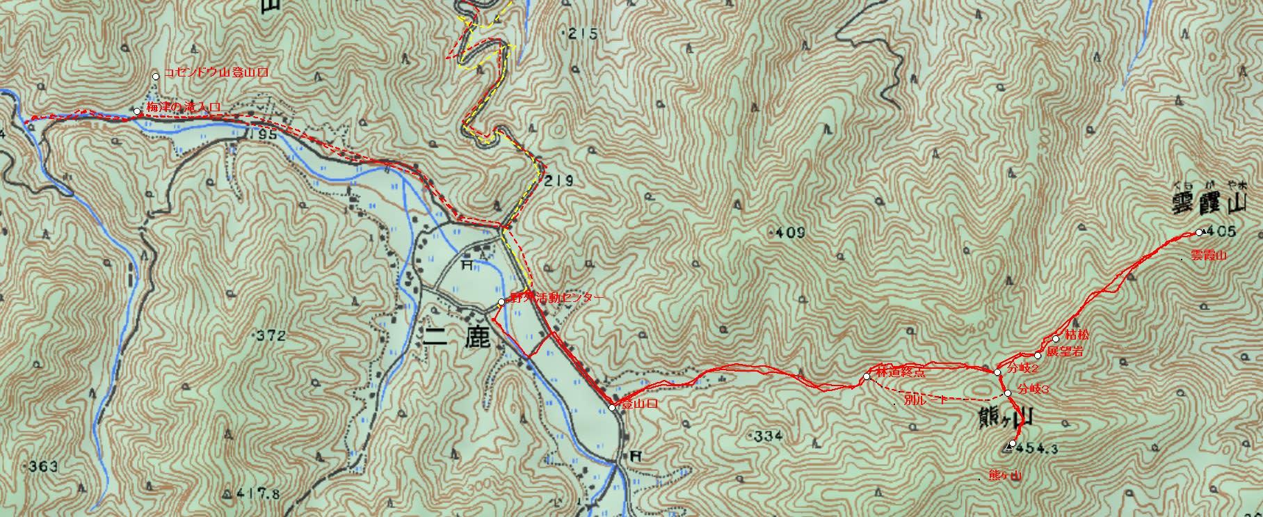 岩国市熊ヶ山(454.3m)・雲霞山(クモガヤマ405m)登山と梅津の滝散策(1) 概略&MAP - ひろしま里山放浪記