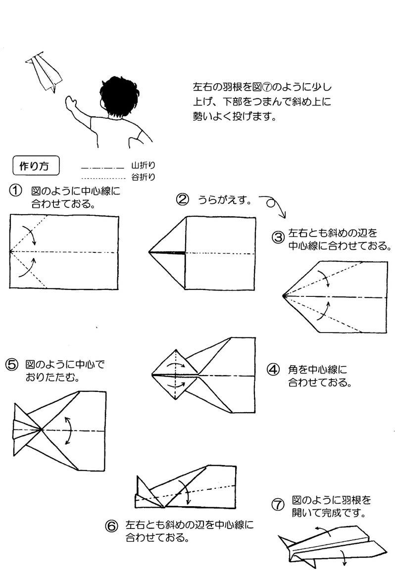 すべての折り紙 トンボの折り紙 : 紙飛行機(5種類)の折り方 ...