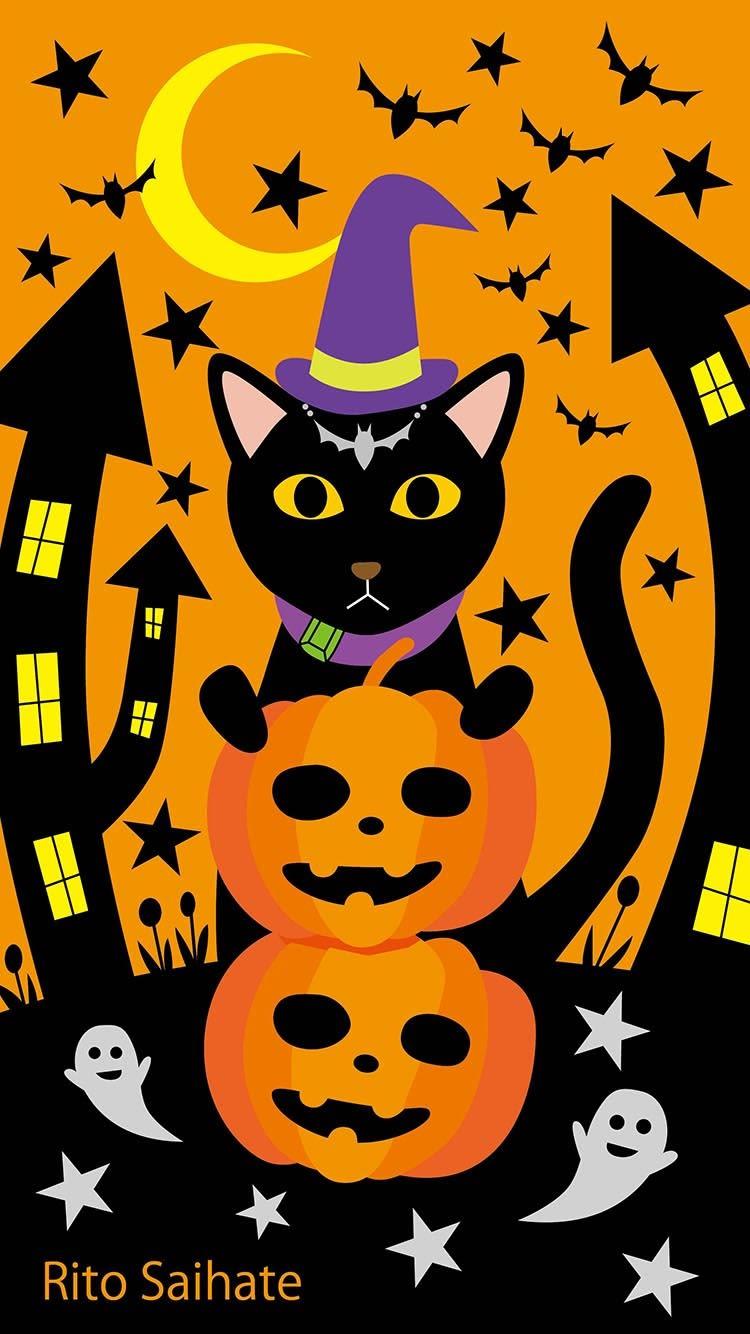 猫iphone壁紙ハロウィンイラスト さいはてりとのギャラリー