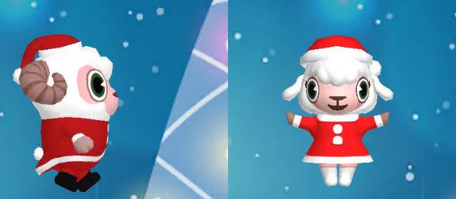 サンタクロース姿のひつじのしつじくんとメイドのメイちゃん