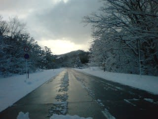 融雪道路。昨日付けたとか。若干雪あり。