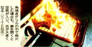 魚焼きグリルの中で発火した場合