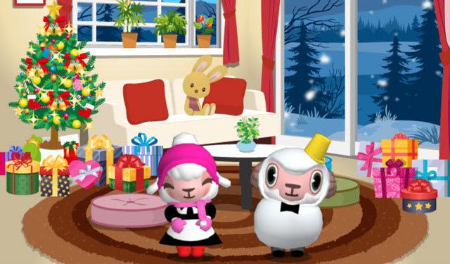 冬ver.と同じ雪だるまスタイルとピンクの帽子とマフラー姿の兄妹