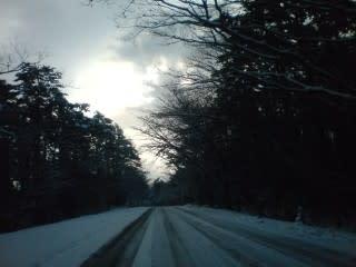 分けの茶屋付近。道路が光っています。スピードを出してブレーキを踏むと多分回る。