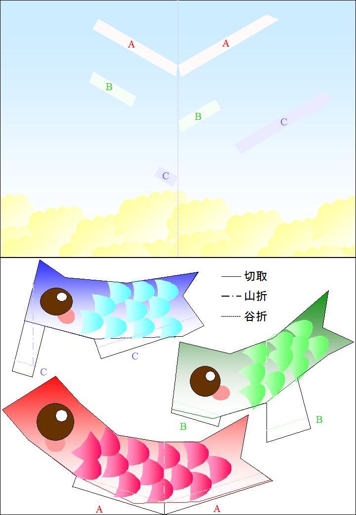すべての折り紙 コマの作り方 折り紙 : こいのぼりのポップアップ ...