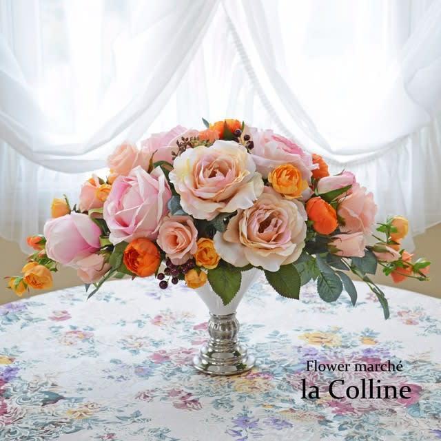 シックなオレンジのバラ ホリゾンタルアレンジ【アーティフィシャルフラワーアレンジ】