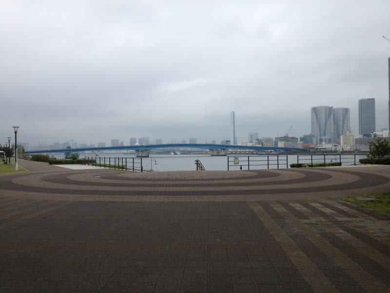 豊洲駅のすぐ後ろに海に ...