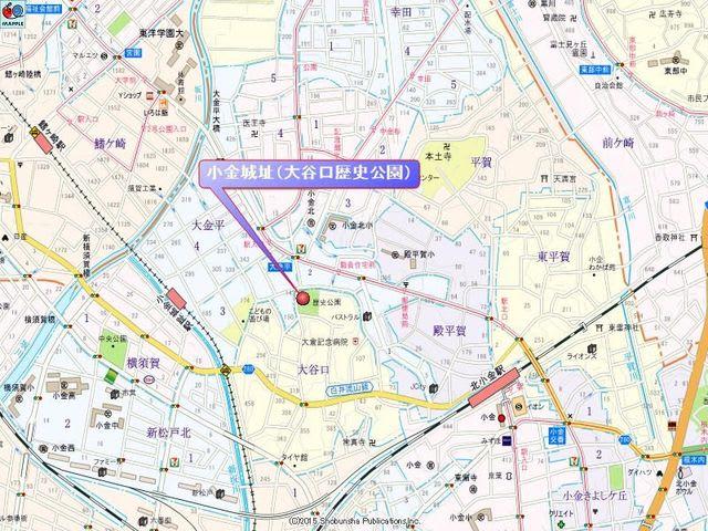 大谷口歴史公園への地図