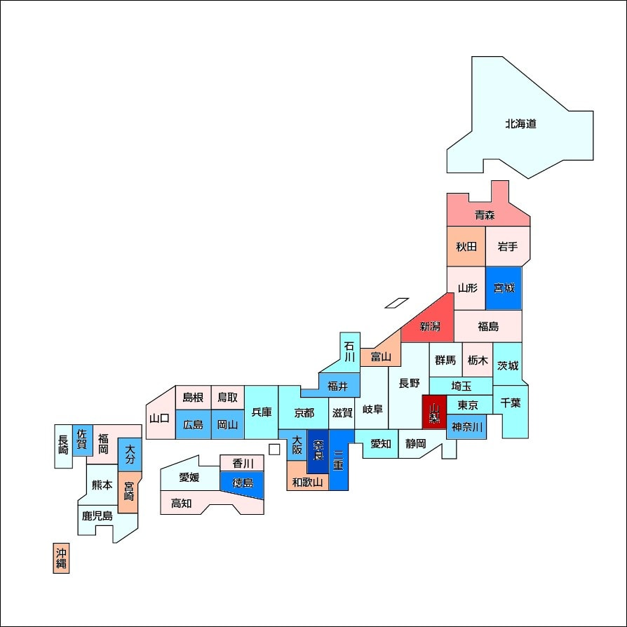... ・日本の白地図 さまより拝借 : 白地図 東日本 : 日本