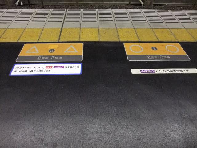樟葉駅1番線の乗車位置表示