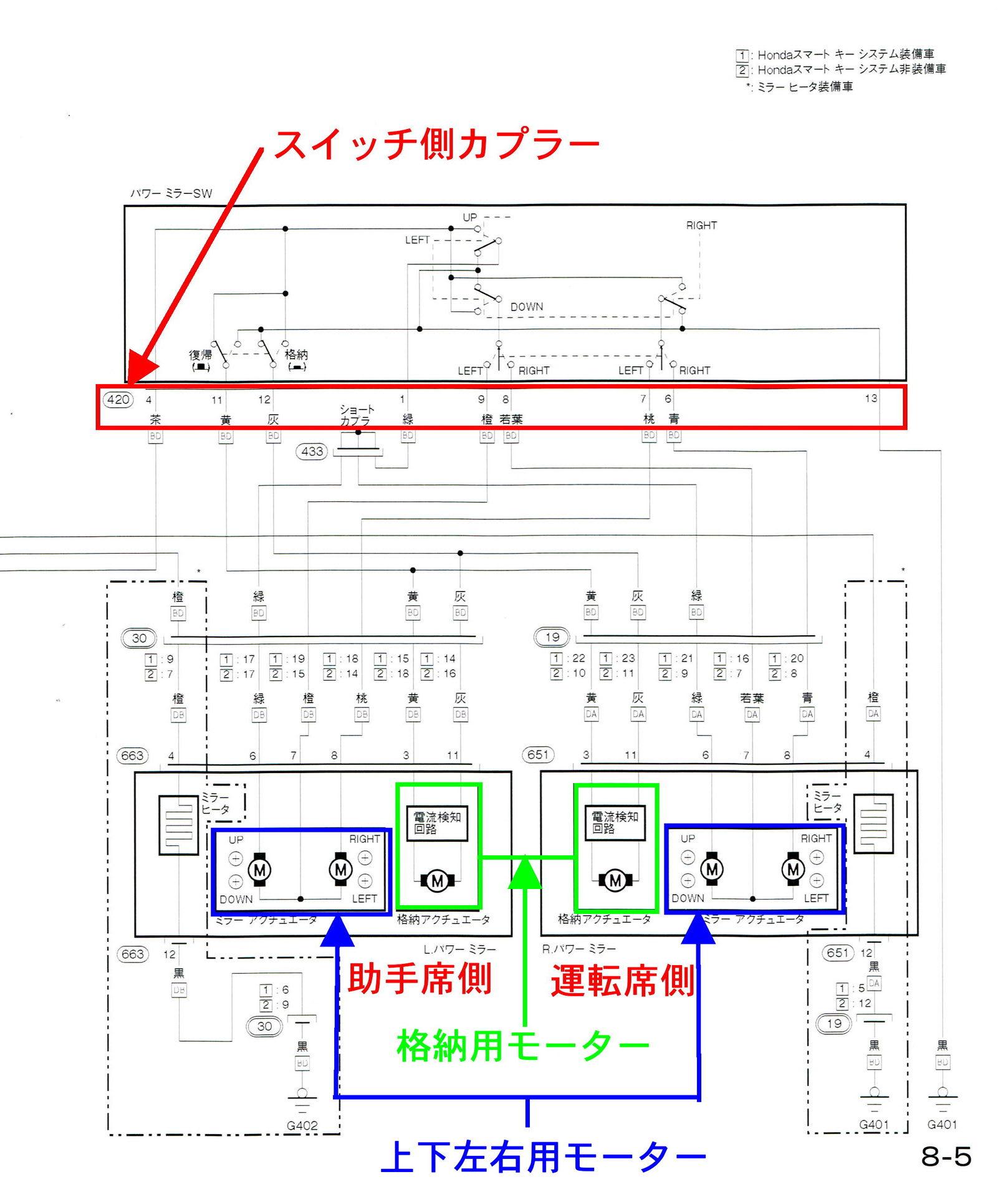 ドアロック連動ミラー格納+リバース連動下降ユニット取付#2 ...