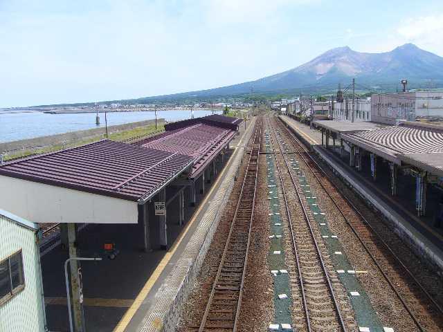 森駅から駒ケ岳を望む